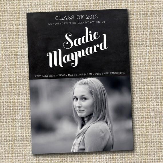 photo graduation announcement printable - chalkboard.