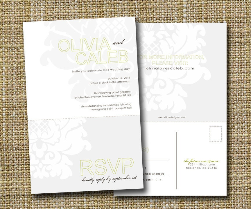 Wedding Invitations With Rsvp Postcards: Modern Wedding Invitation With Perforated Rsvp Postcard