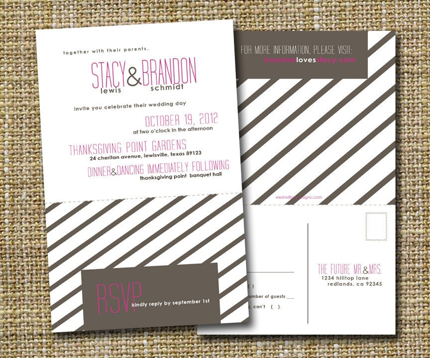 Modern Wedding Invitation With Perforated Rsvp By Westwillow