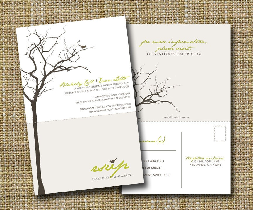 Wedding Invitations With Rsvp Postcards: Modern Wedding Invitation With Perforated Rsvp Postcard Love