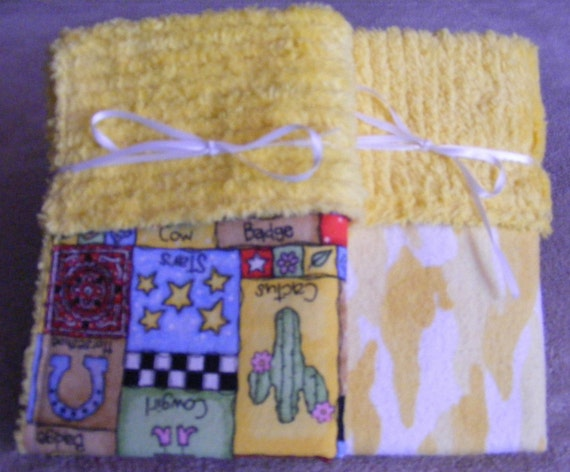 Western Themed Yellow Chenille Flannel Burp Set