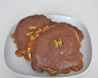 Pistachio Caramel Chocolate Turtles 2 Clusters