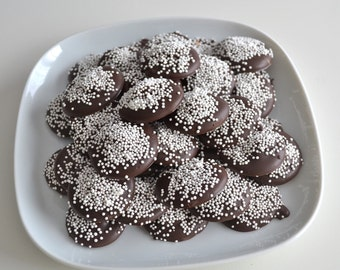 Chocolate and White Non-Pareil Candy 2 Dozen
