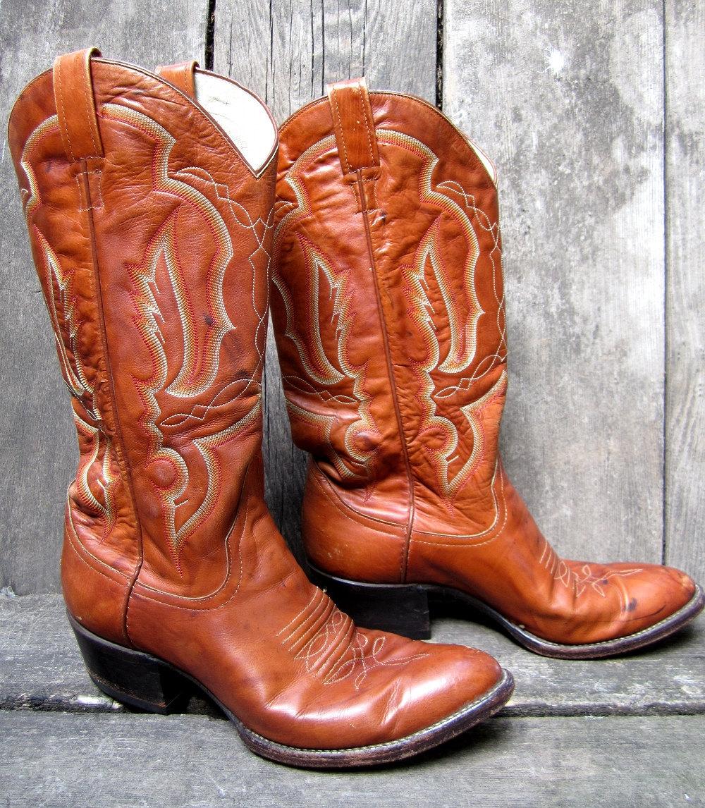 Vintage 1970s Larry Mahan Cowboy Boots Burnt Orange White