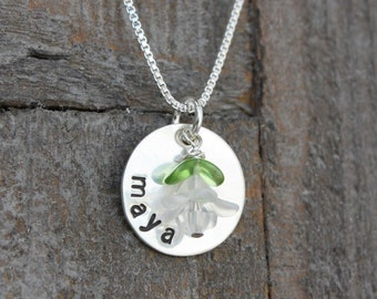 Small Name Tag Hand Stamped Circle Necklace