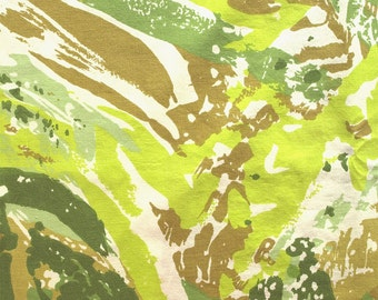 Vintage Reclaimed Green Swirl Double Flat Sheet - Abstract Print - Shades of Greens and Khaki Marbling