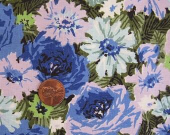 Vintage Purple Rose Fabric - Cotton Canvas- Violet, Blue, Chartruese - Mint Condition