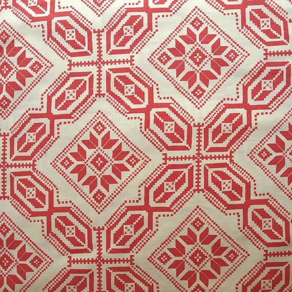 Vintage Quilt Pattern Full Flat Sheet Reclaimed Red Salmon