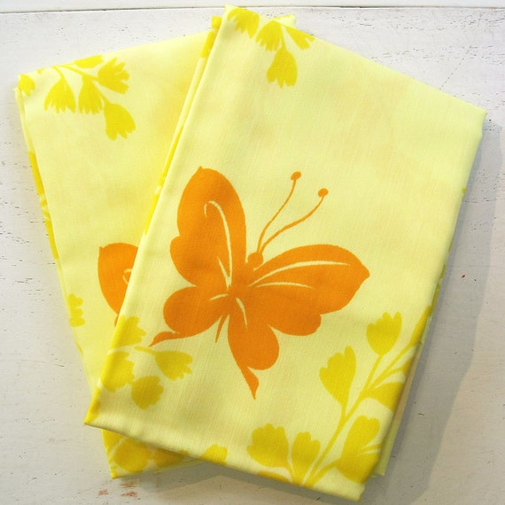Vintage Standard Pillowcases Butterfly Print  - Yellow & Orange - Mint Condition
