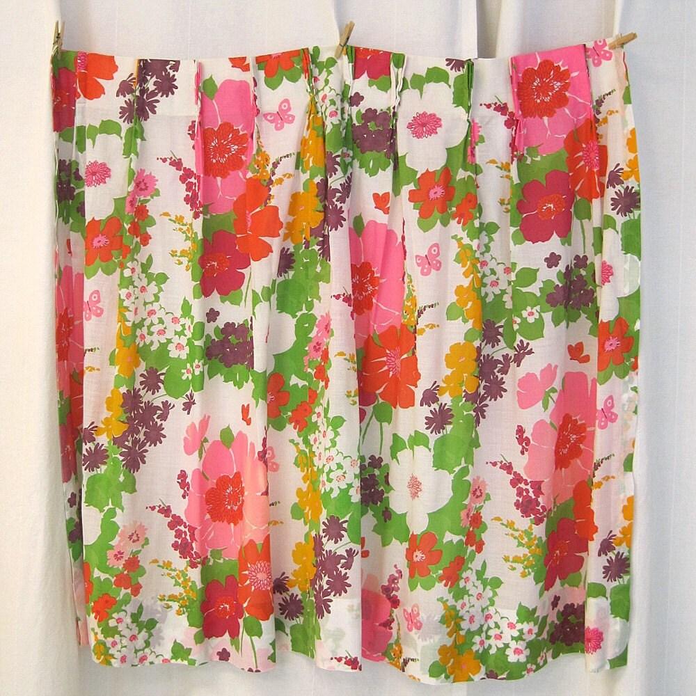 Vintage neon bright groovy floral curtain set by vintageurbangirl