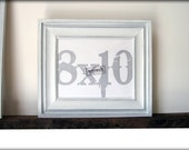 8x10 white picture frame .  cove style . rustic handmade picture frames .