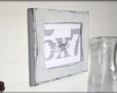 5x7 white picture frame . distressed style . handmade picture frames