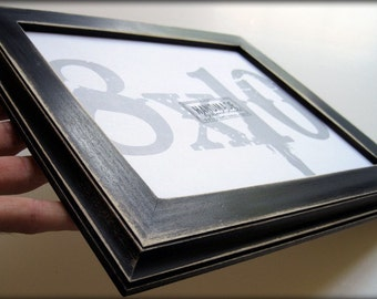 picture frame . 8x10 black picture frame . traditional style . handmade picture frames