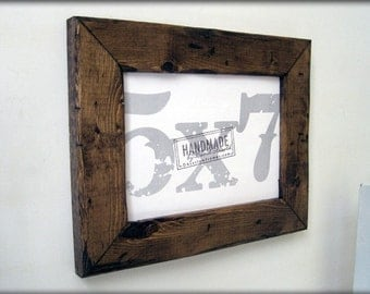 5x7 distressed pine picture frame . dark walnut finish .