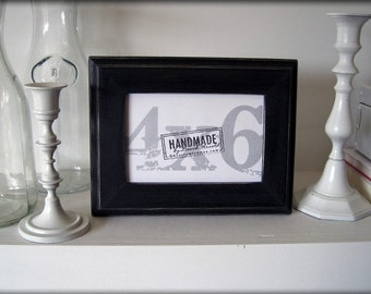 4x6 black picture frame . traditional style . handmade rustic picture frame