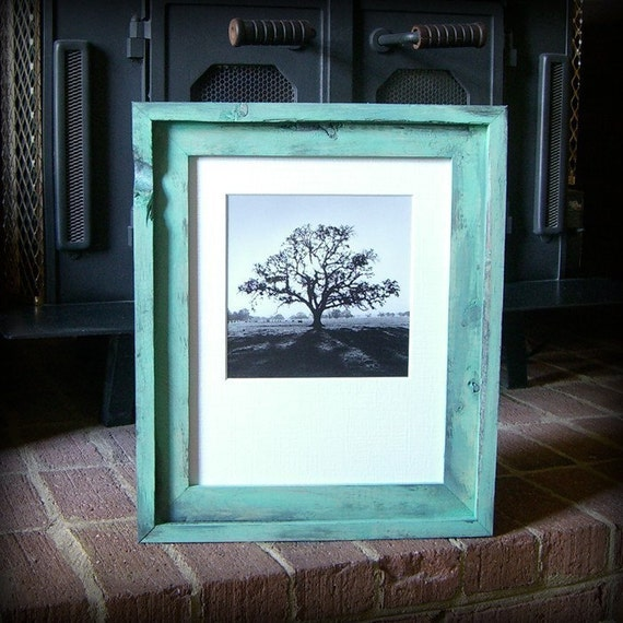 11x14 turquoise rustic stacked pine picture frame . handmade .