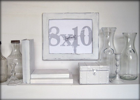 8x10 white picture frame . distressed style . handmade picture frames