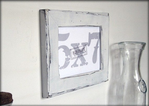 5x7 White Picture Frame Distressed Style Handmade Picture