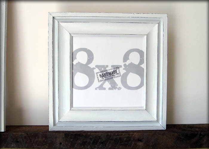 8x8 White Picture Frame Cove Style Handmade Picture