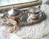 silver tea set...sugar, creamer and tray