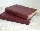 the story of modern science books  - 1923 illustrated antique book plates - dark red wine - shabby chic cottage decor - Christmas decor