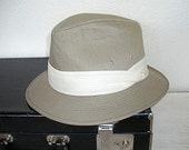 tan fedora hat - vintage mens wearable canvas hat - mid century mad men style - tan and cream - Dorfman Pacific road trip hat