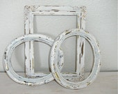 creamy white and gold distressed picture frames - vintage shabby chic cottage decor - romantic hollywood regency