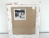 creamy white distressed picture frame - solid wood - shabby chic beach cottage decor - ornate chippy hollywood regency