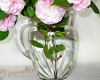 glass pitcher for drinks or flowers - vintage pressed glass vase - shabby beach chic cottage - farmhouse glassware