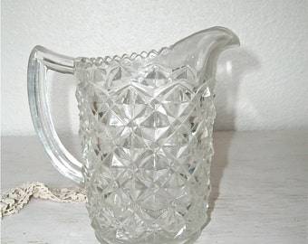 vintage cut glass pitcher for serving or holding flowers - shabby chic cottage decor - ornate hollywood regency
