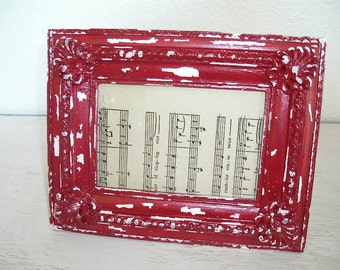 red and white distressed picture frame - ornate shabby chic cottage decor - hollywood regency