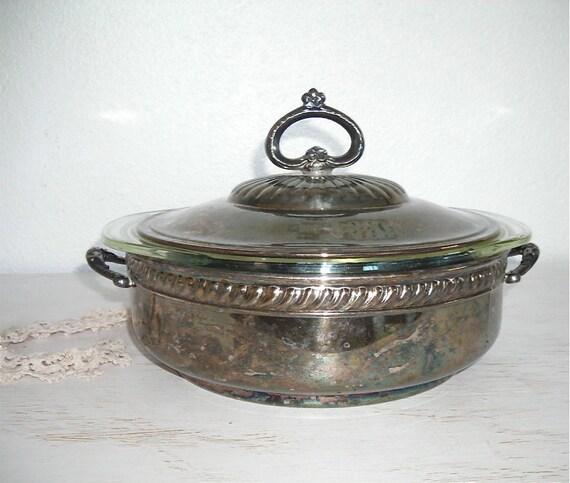 silver covered serving dish - vintage 2 quart glass pyrex casserole holder - shabby chic cottage decor - ornate hollywood regency