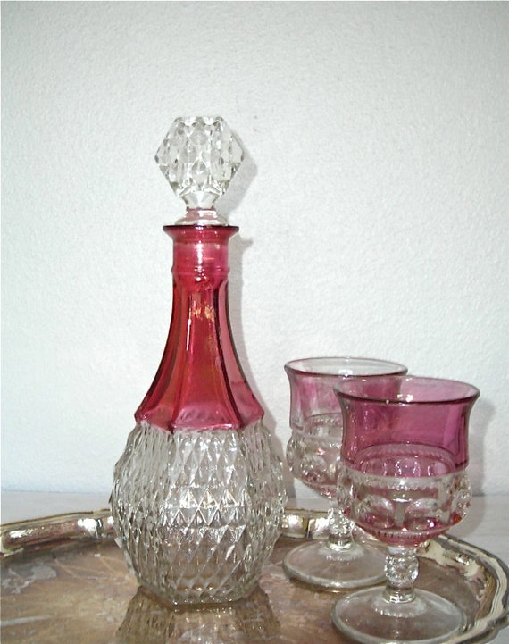 cranberry red decanter - vintage pressed glass barware - shabby chic cottage decor - ornate hollywood regency