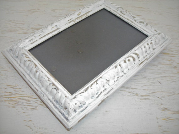 creamy white and silver picture frame - distressed shabby chic cottage decor - hollywood regency