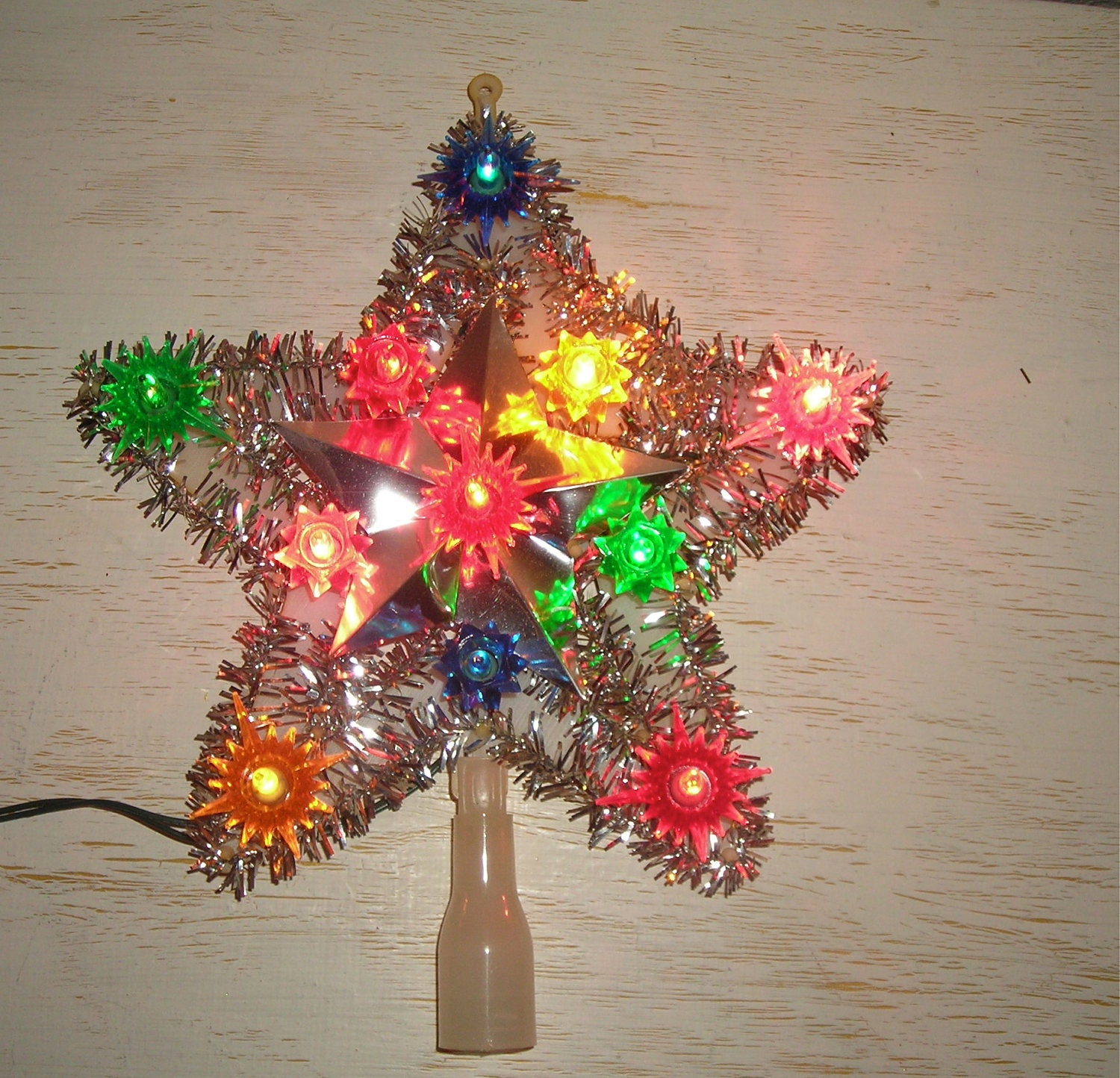 Christmas tree top star light lighted topper retro