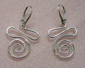 Handmade Sterling Silver Loopy-Swirl Dangle Earrings Heavier Version