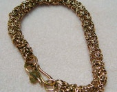 Handmade Bronze Chainmaille Tryzantine or Turkish Bracelet 8.25  Inches in Length