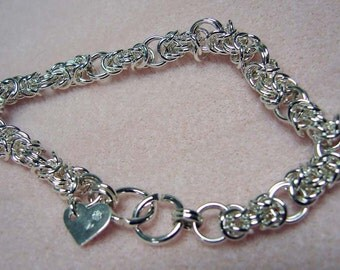 Sterling Silver Byzantine Chainmaille Bracelet  8 1/2 inches in Length