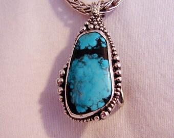 Handmade Unique Larger Freeform Turquoise Cabochon Pendant