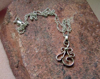 Handmade Dainty Sterling Silver Spirals and Curls Pendant and 18 Inch Sterling Silver Chain