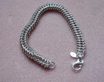 Handmade Box Link Chainmaille Sterling Silver Bracelet 7 3/4 Inches in Length