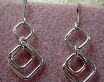 Handmade Square Chain Link Sterling Silver Dangle Earrings 2