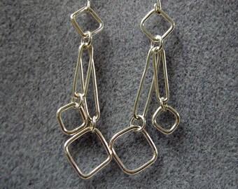 Handmade Sterling Silver Square Chain Link Long Dangle Earrings
