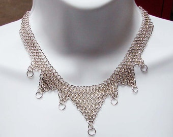 Sterling Silver European 4 in 1 OOAK Chainmaille Necklace 17 Inches in Length