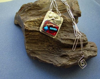 Handmade Sterling Silver and  Dichroic Red Glass Pendant with Handmade Sterling Silver Chain 25 Inches in Length