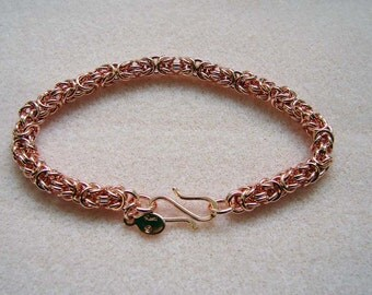Handmade Pure Copper Byzantine Chainmaille Bracelet 8 Inches in Length