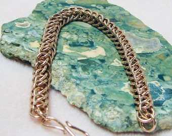 Handmade Bronze Persian 3 in 1 Chainmaille Weave Bracelet 7 3/4 Inches in Length