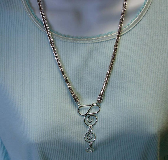 Sterling Silver Handmade Double Loop in Loop Chain 23 inches in Length With Fancy Spiral Clasp