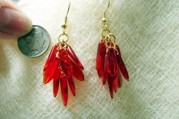 Red Czech Glass Dangle Gold Filled Handmade Earrings