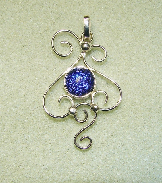 Sterling Silver Filigree Pendant with Round Cobalt Blue Dichroic Glass Cab